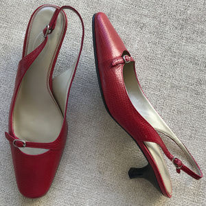 TALBOTS Red Textured Leather Strap Heels 8.5
